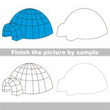 Igloo. Drawing worksheet. Drawing worksheet for children. Finish the picture and draw the cute Igloo Royalty Free Stock Images
