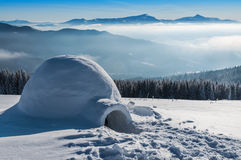 Igloo in hight mountains. Real igloo in high winter mountains Stock Photography