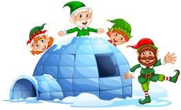 Igloo i elfy royalty ilustracja