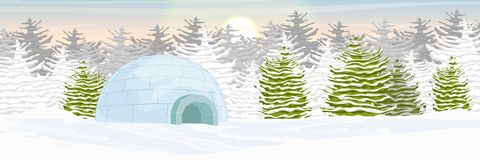Igloo. Icehouse. Ice dwelling of the Eskimos. Snow covered plain. Spruce forest stock illustration