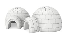 Igloo icehouse 3D. Igloo icehouse isolated on white background 3d render illustration. Snowhouse or snowhut. Eskimo shelter built of ice Royalty Free Stock Photo