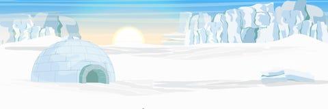 igloo Icehouse Moradia do gelo dos esquimós Planície coberto de neve geleira