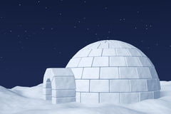 Igloo icehouse on the polar snow field under night sky with star Royalty Free Stock Photo
