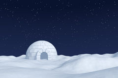 Igloo icehouse on polar snow field under the night sky with star Royalty Free Stock Images
