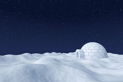 Igloo icehouse on polar snow field under the night sky with star Stock Photography