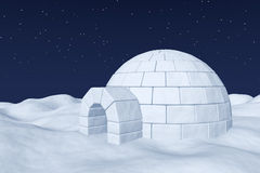 Igloo icehouse on polar snow field under night sky with stars. Winter north polar natural night snowy landscape: eskimo house igloo icehouse made with white snow Royalty Free Stock Images