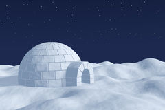 Igloo icehouse on the polar snow field under the night sky with Royalty Free Stock Photos