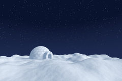 Igloo icehouse on snow polar field under night sky with stars. Winter north polar natural night snowy landscape: eskimo house igloo icehouse made with white Stock Photography