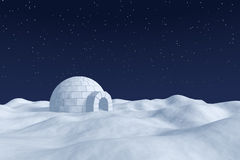 Igloo icehouse on snow polar field under night sky with stars. Winter north polar natural snowy night landscape: eskimo house igloo icehouse made with white snow Stock Photo