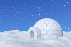 Igloo icehouse under blue sky with snowfall. Winter north polar snowy landscape: eskimo house igloo icehouse made with white snow on the surface of snow field Royalty Free Stock Images