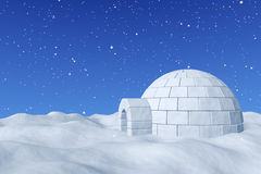 Igloo icehouse under blue sky with snowfall. Winter north polar snowy landscape - eskimo house igloo icehouse made with white snow on surface of snow field Royalty Free Stock Photography