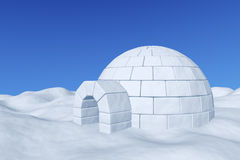 Igloo icehouse under blue sky. Winter north polar snowy landscape: eskimo house igloo icehouse made with white snow on the surface of snow field under cold north Royalty Free Stock Photo