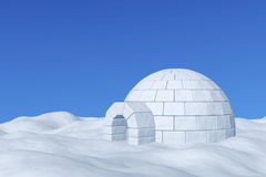 Igloo icehouse under blue sky. Winter north polar snowy landscape - eskimo house igloo icehouse made with white snow on the surface of snow field under cold Stock Photos