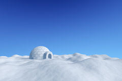 Igloo icehouse under blue sky. Winter north polar snowy landscape - eskimo house igloo icehouse made with white snow on the surface of snow field under cold Royalty Free Stock Photography