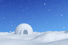 Igloo icehouse under snowfall under blue sky. Winter north polar snowy landscape - eskimo house igloo icehouse made with white snow on snow surface of snow field Stock Photos