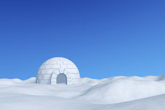 Igloo icehouse under winter blue sky. Winter north polar snowy landscape: eskimo house igloo icehouse made with white snow on the surface of snow field under Royalty Free Stock Photo