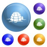 Igloo icons set vector stock illustration