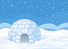 Igloo. Illustration of an igloo on winter background Stock Images