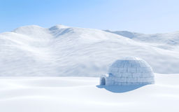 Igloo isolated in snowfield with snowy mountain, Arctic landscape scene Stock Photo