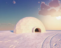 Igloo landscape. ( 3D and hand-drawing elements combined Royalty Free Stock Image
