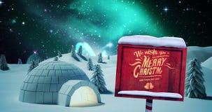 Igloo med meddelandet för glad jul royaltyfri illustrationer