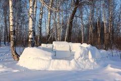 Igloo niedokończony na śnieżnej haliźnie w zimie, Syberia, Rosja zdjęcia royalty free