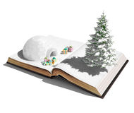 Igloo on the open book. Igloo with christmas gifts on the open book. 3d concept stock illustration