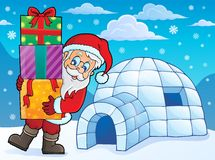 Igloo with Santa Claus theme 1 Royalty Free Stock Image