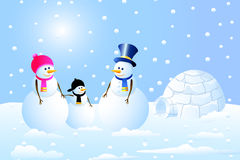 Igloo & Snowman Family. Is a  illustration Stock Photo