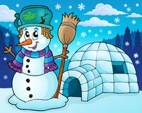 Igloo with snowman theme 2 Royalty Free Stock Image
