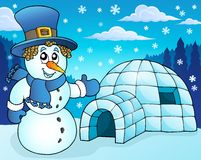 Igloo with snowman theme 3 Royalty Free Stock Images