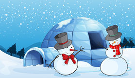 An igloo and snowmen. Illustration of an igloo and snowmen in nature Royalty Free Stock Photos