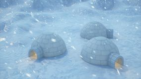 Igloo standing against the winter landscape and snowdrifts. Strong wind and snow storm, 3d animation