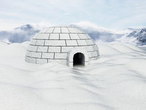 Igloo standing on snowy plane. 3D illustration.  Royalty Free Stock Image