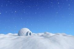 Iglooicehouse under blå himmel med snöfall Royaltyfri Foto