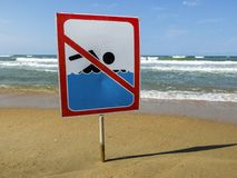 Ign at the beach with man swim and not symbol, Caution No Swimming allowed stock images