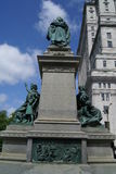 Ignace Bourget Monument in Montreal, Canada. The Ignace Bourget Monument is a monument of Louis-Pilippe Hebert located in front of Mary, Queen of the World Royalty Free Stock Image