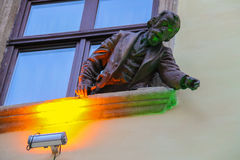 Ignacy Lukasiewicz sculpture from window of pub-museum Gas Lamp Royalty Free Stock Photo