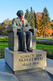 Ignacy Paderewski纪念碑在华沙(波兰) 免版税图库摄影