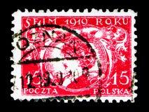 Ignacy Paderewski,波兰议会serie,大约1919年 库存图片