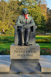 Ignacy Paderewski Monument in Warsaw (Poland). Located in Ujazdowski Park in Warsaw. Ignacy Jan Paderewski was a prominent Polish politician. Contributed to the Royalty Free Stock Image