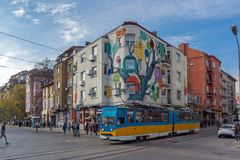 Ignatiev伯爵街道日落视图在索非亚,保加利亚 库存照片
