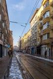 Ignatiev伯爵街道的走的人在索非亚,保加利亚 免版税库存图片