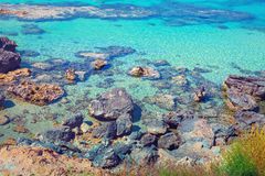 Igneous sea coast. Protaras city, Cyprus Royalty Free Stock Photography