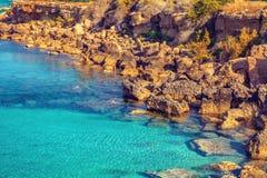 Igneous sea coast. Protaras city, Cyprus Stock Images