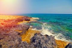 Igneous sea coast. Protaras, Cyprus Stock Images