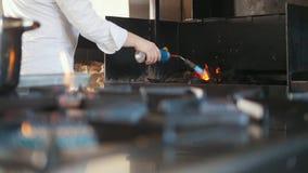 Ignição do carvão vegetal no forno do assado video estoque