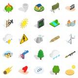 Ignitable icons set, isometric style. Ignitable icons set. Isometric set of 25 ignitable vector icons for web isolated on white background Stock Photos