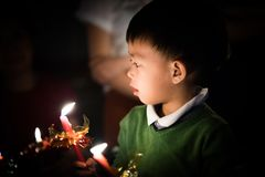Ignite the candle light. royalty free stock images