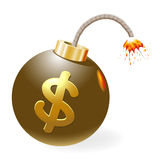 Ignited bomb with dollar-symbol. Vector-Illustration Stock Photo